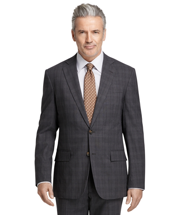 BrooksCool® Regent Fit Grey Plaid with Blue Windowpane Suit Grey-Blue