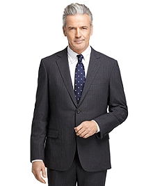 BrooksCool® Fitzgerald Fit Charcoal with Blue and White Alternating Stripe Suit