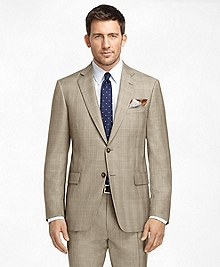 Madison Fit Brown Plaid with Blue and Gold Deco 1818 Suit