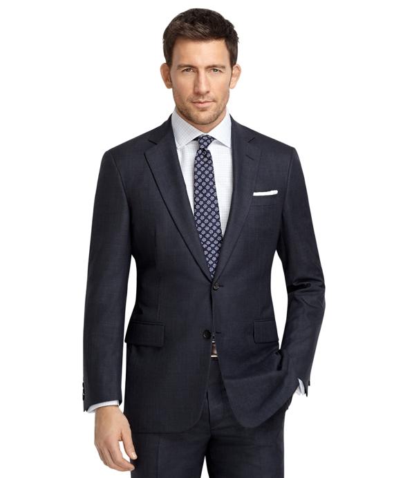 Madison Fit Saxxon Wool Plaid Windowpane Golden Fleece® Suit Navy