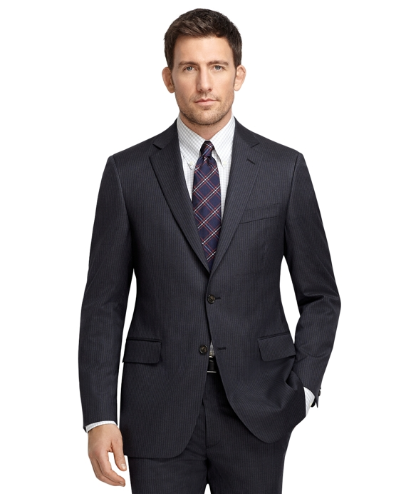 Madison Fit Charcoal with White and Blue Stripe 1818 Suit Charcoal