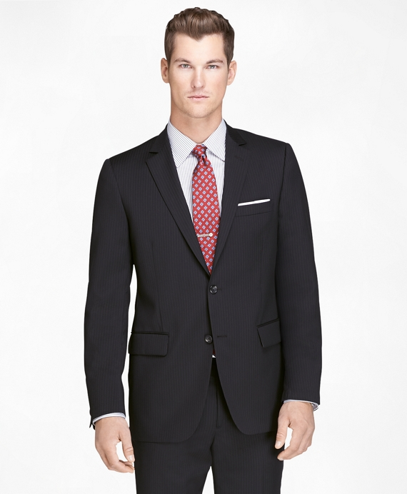Fitzgerald Fit Black Shadow Stripe 1818 Suit Black