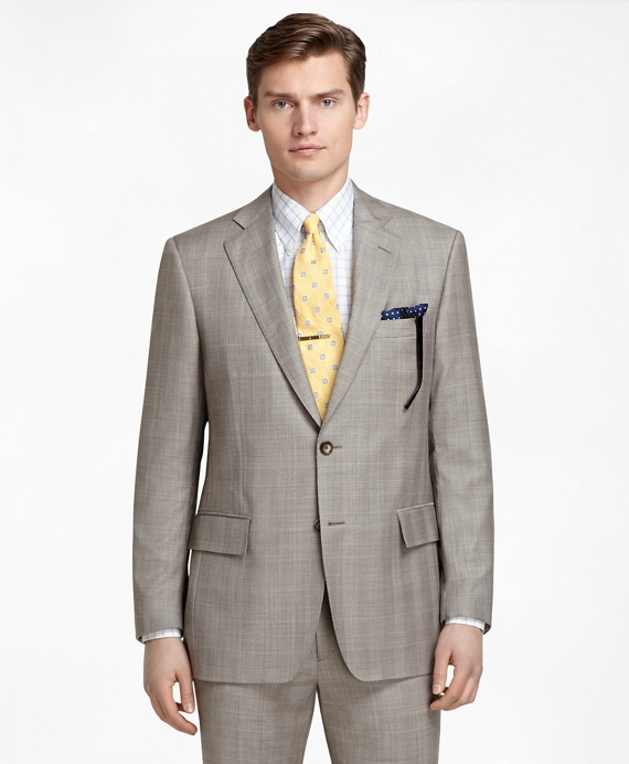Regent Fit Brown Plaid with Blue and Gold Deco 1818 Suit Brown