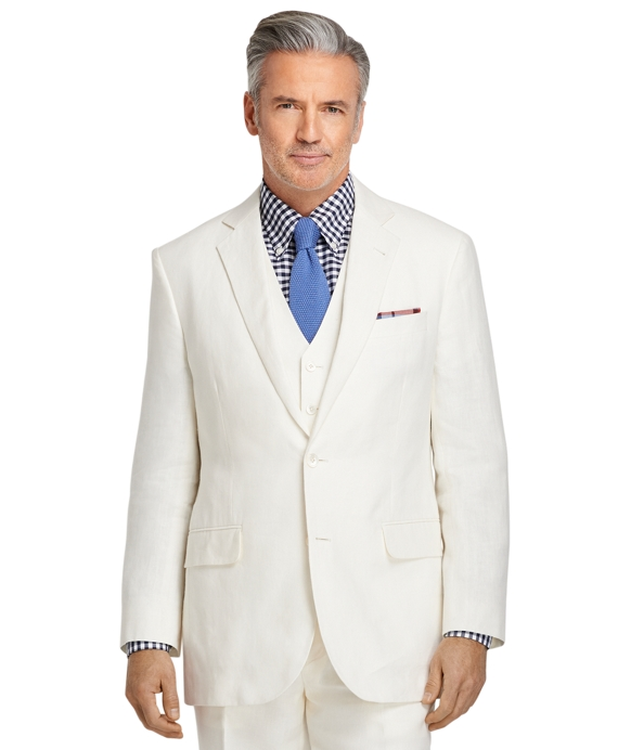 Madison Fit Ivory Linen Suit with Vest Ivory
