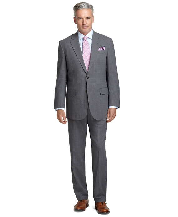 Men's Madison Fit Light Grey with Blue Bead Stripe BrooksCool Suit