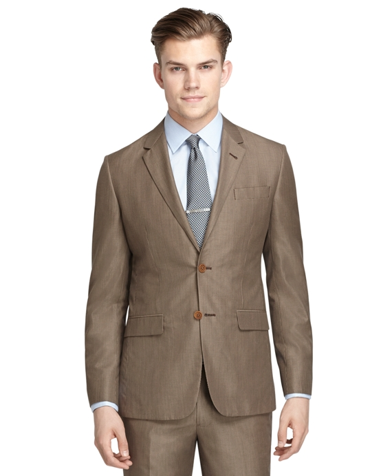 Milano Fit Tan Houndstooth Suit Tan