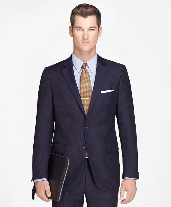 Men's Fitzgerald Fit Wool Navy Striped 1818 Suit | Brooks Brothers