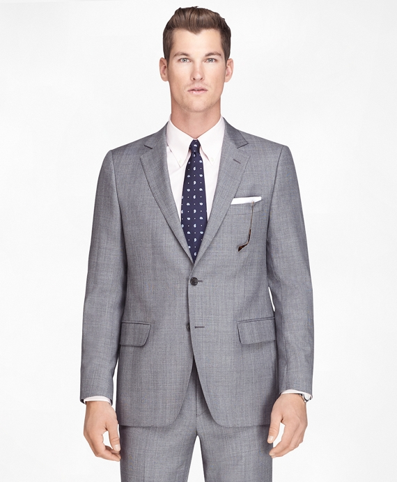 Fitzgerald Fit Wool Black and White Plaid 1818 Suit Black