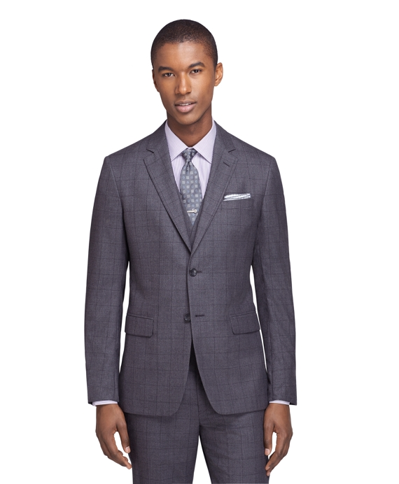 Milano Fit Sharkskin Three-Piece 1818 Suit Charcoal