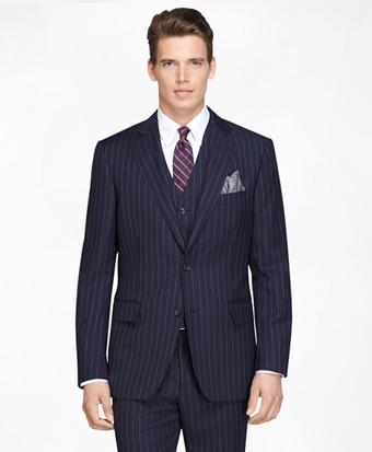 Regent Fit Navy Bold Stripe Three-Piece 1818 Suit
