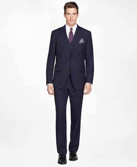 Men's Slim Fit Navy Blue Striped Three-Piece 1818 Suit | Brooks ...