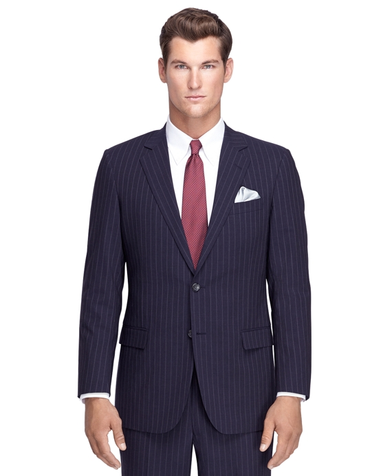 Fitzgerald Fit Navy Alternating Stripe BrooksCool® Suit Blue