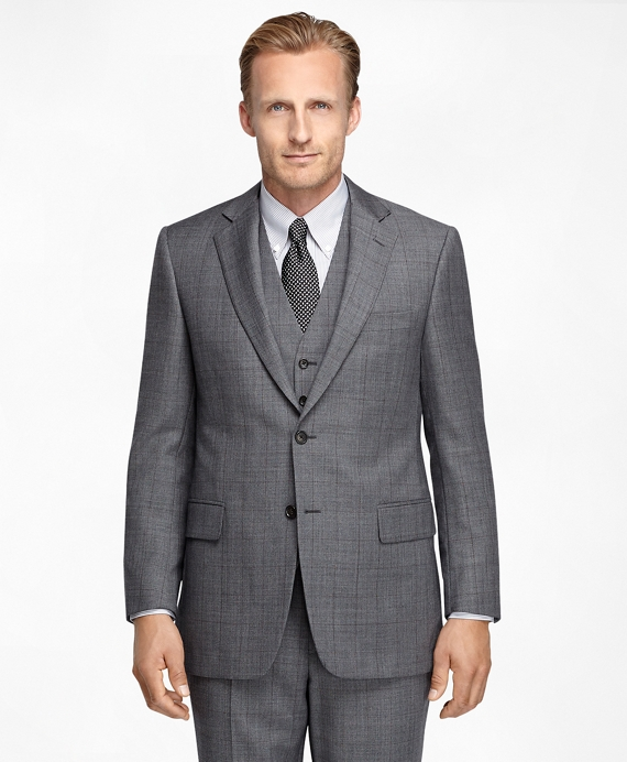 Madison Fit Sharkskin Deco Three-Piece 1818 Suit Grey