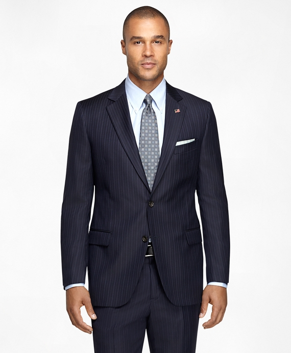 Fitzgerald Fit Saxxon Wool Stripe 1818 Suit Navy