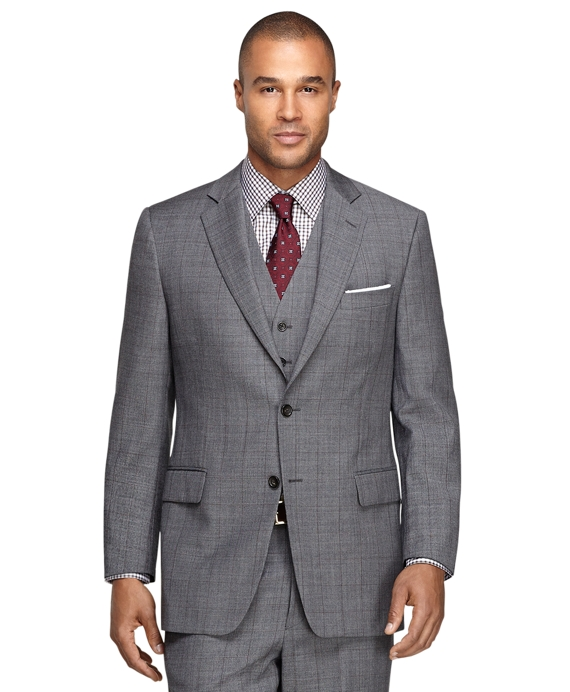 Fitzgerald Fit Three-Piece Sharkskin 1818 Suit Grey