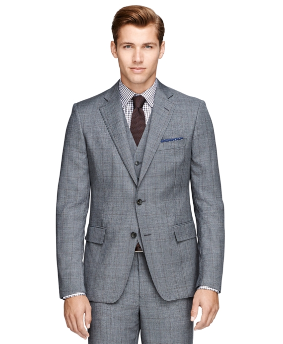 Regent Fit Three-Piece Sharkskin Deco 1818 Suit Grey
