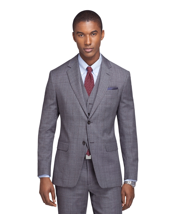 Milano Fit Three-Piece Sharkskin Deco 1818 Suit Grey
