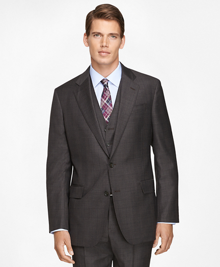 Regent Fit Three-Piece Saxxon Wool Plaid 1818 Suit