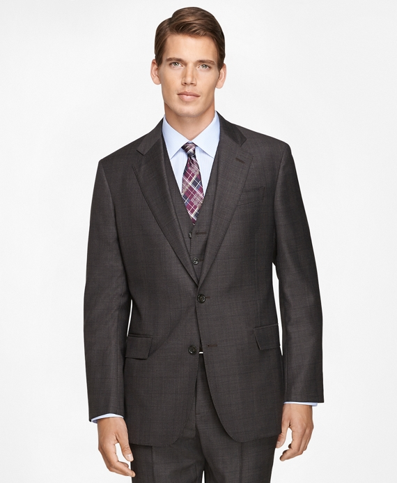 Regent Fit Three-Piece Saxxon Wool Plaid 1818 Suit Brown