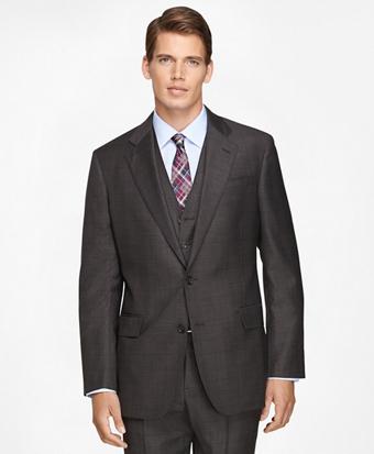 Regent Fit Three-Piece Saxxon Wool Plaid 1818 Suit