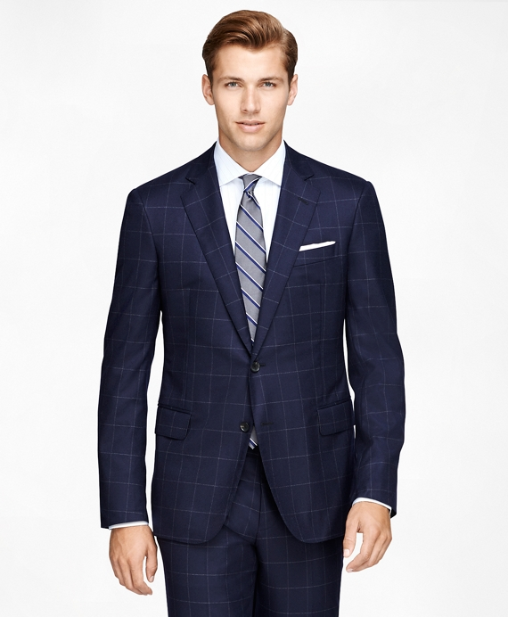 Regent Fit Three-Piece Golden Fleece® Windowpane Suit Navy