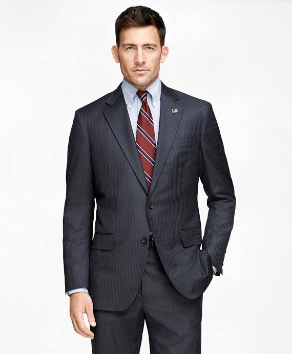 Madison Fit Saxxon Grey with Blue Stripe 1818 Suit Grey