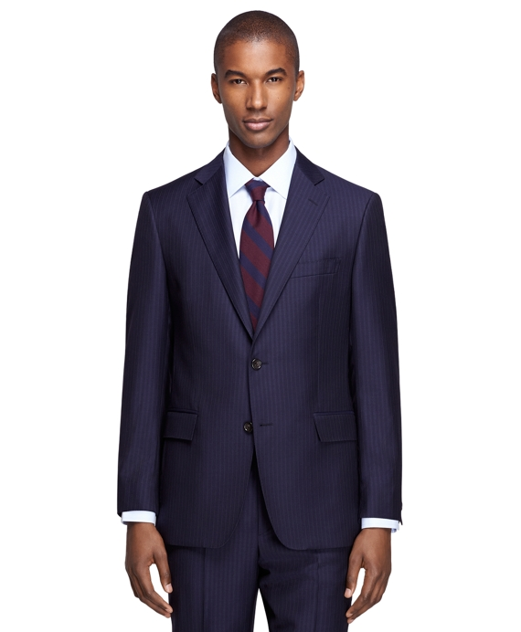 Regent Fit Navy Alternating Stripe 1818 Suit Navy
