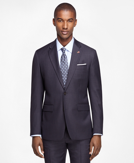 Milano Fit Saxxon™ Wool Grey with Blue Stripe 1818 Suit Grey
