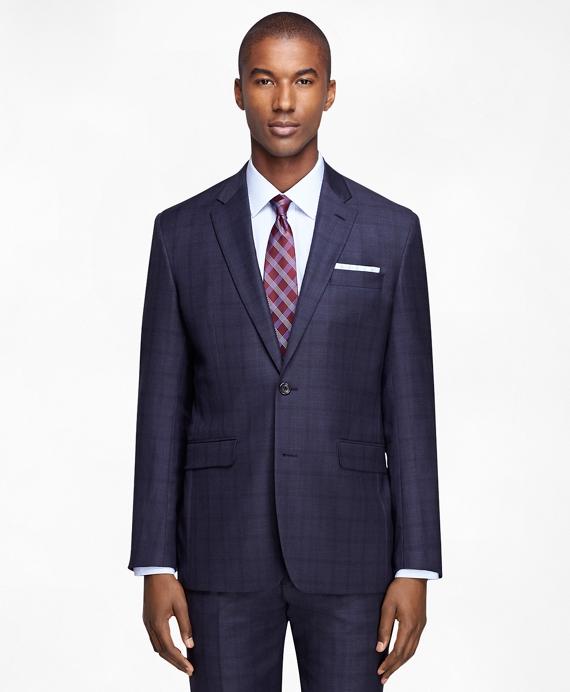 Milano Fit Saxxon Mini Plaid 1818 Suit Blue