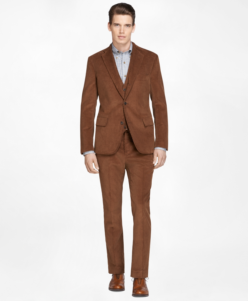 Men's Own Make Light Brown Three-Piece Corduroy Suit | Brooks Brothers