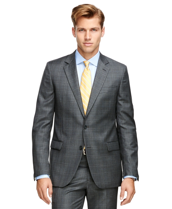 Fitzgerald Fit Saxxon™ Wool Plaid 1818 Suit Grey