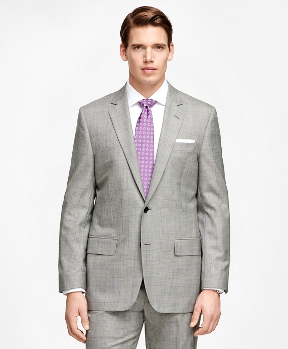 Fitzgerald Fit Golden Fleece® Black and White Plaid Wool Suit Black