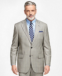Madison Fit Saxxon Wool Brown Plaid 1818 Suit