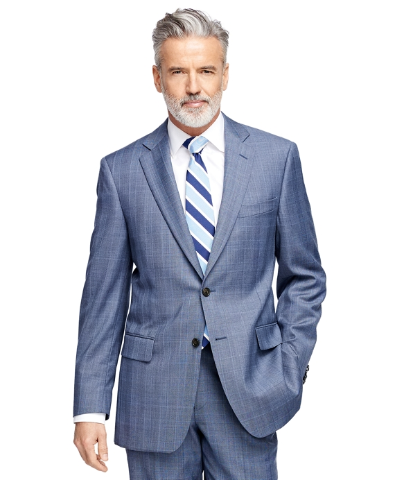 Men's Regular Fit Light Blue Plaid 1818 Suit | Brooks Brothers