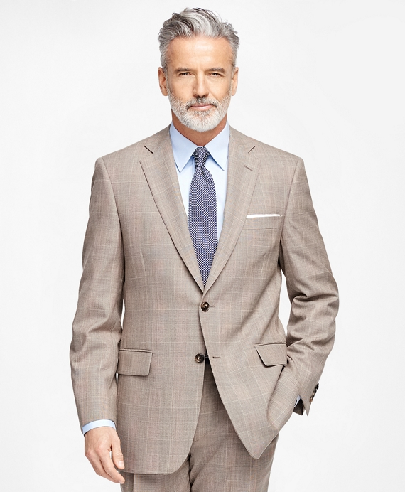 Madison Fit Plaid with Windowpane 1818 Suit Brown