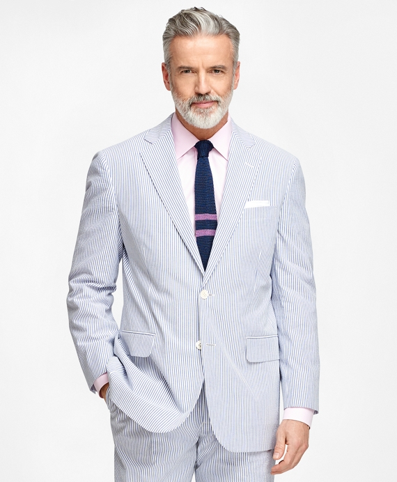 Madison Fit Seersucker Suit Blue-Ivory