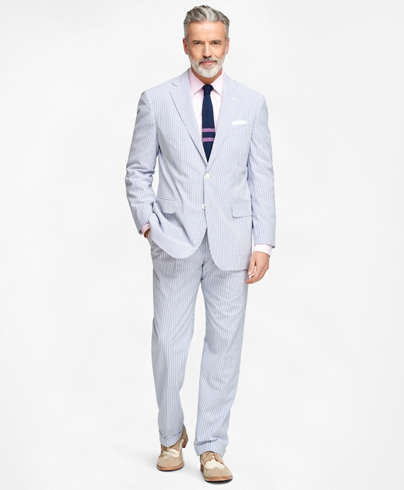 Men's Regular Fit Blue Striped Seersucker Suit | Brooks Brothers