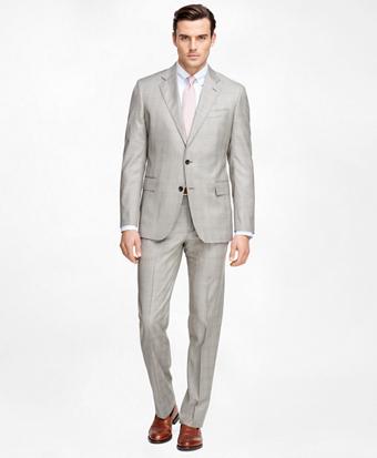 Regent Fit Saxxon Wool Brown Plaid 1818 Suit