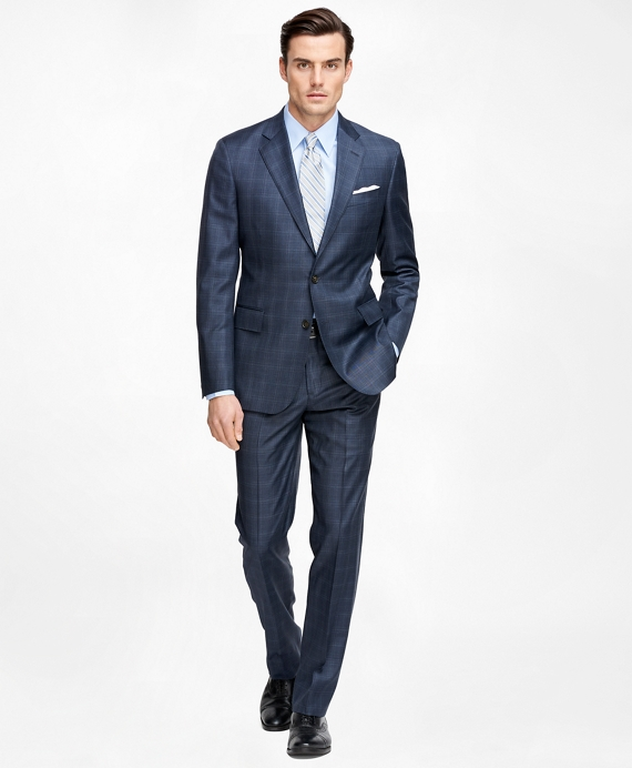 Men's Slim Fit SaxXon Wool Blue Plaid Suit | Brooks Brothers