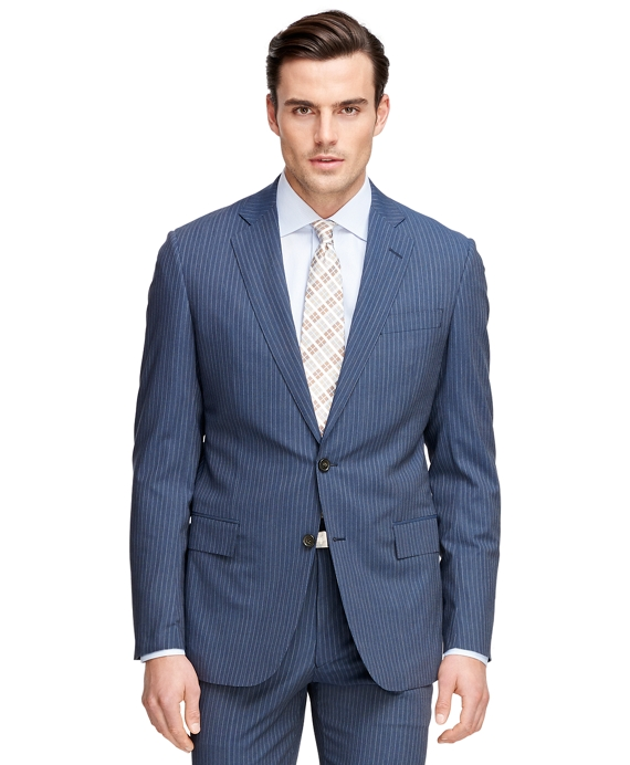 Regent Fit BrooksCool® Alternating Stripe Suit Blue
