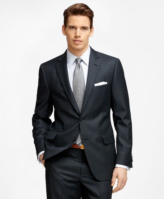 Fitzgerald Fit Blue and White Stripe 1818 Suit Charcoal
