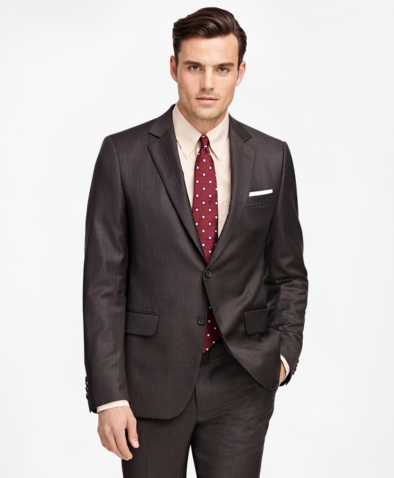 Fitzgerald Fit Saxxon™ Wool Pinstripe 1818 Suit Brown