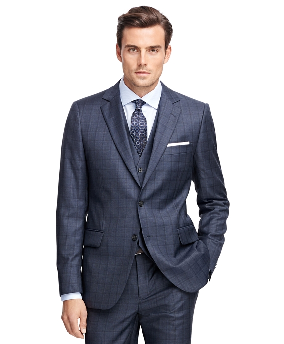 Brooks Brothers Fitzgerald Fit Saxxon羊毛Multipane三件1818西装
