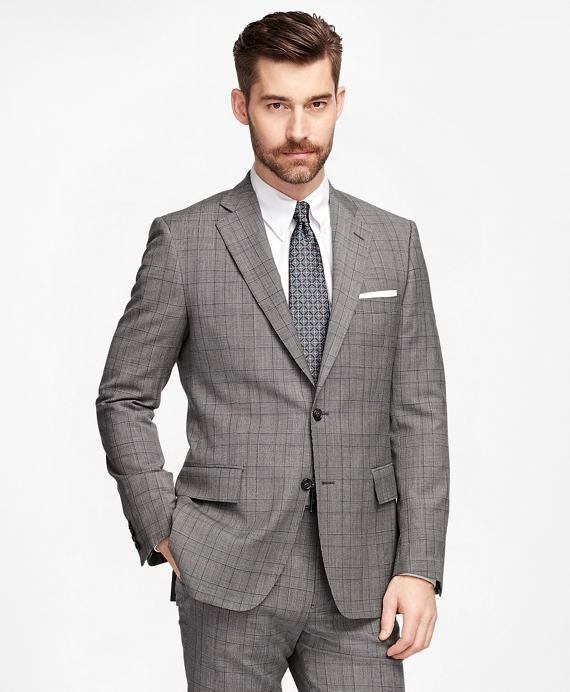 Men's Slim Fit Grey Plaid 1818 Suit | Brooks Brothers