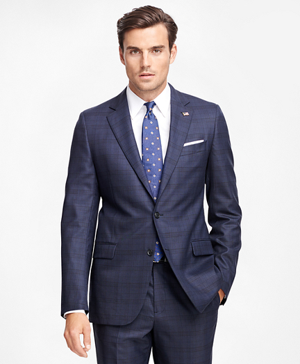 Fitzgerald Fit Saxxon Wool Blue Plaid 1818 Suit