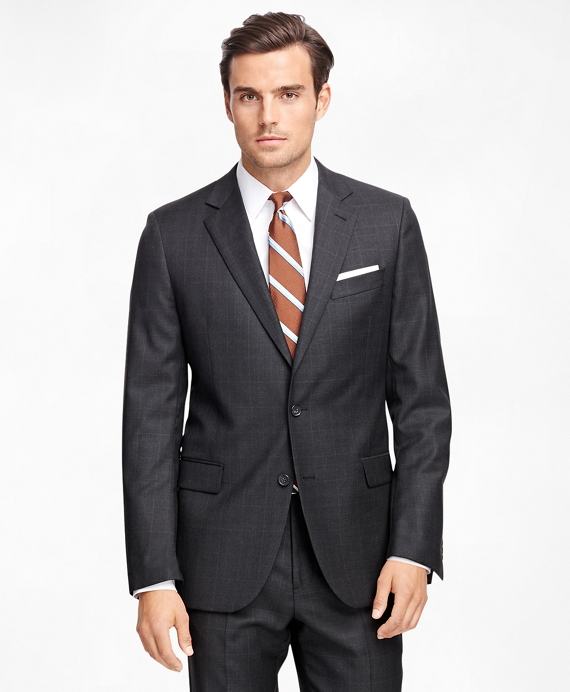 Fitzgerald Fit Saxxon Wool Charcoal Plaid 1818 Suit Charcoal
