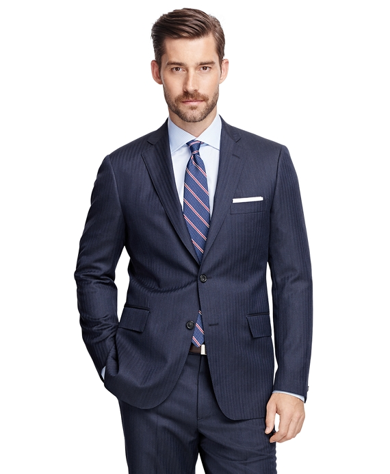 Regent Fit Herringbone 1818 Suit Blue