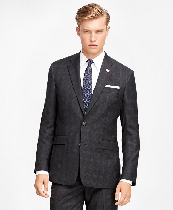 Milano Fit Multi Windowpane 1818 Suit Charcoal
