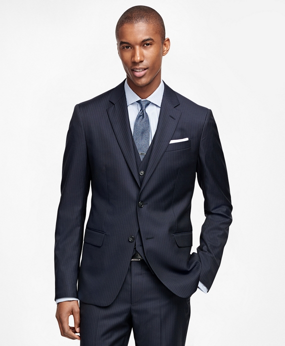 Milano Fit Three-Piece Double Stripe 1818 Suit Navy