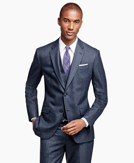 Milano Fit Three-Piece Check 1818 Suit Blue